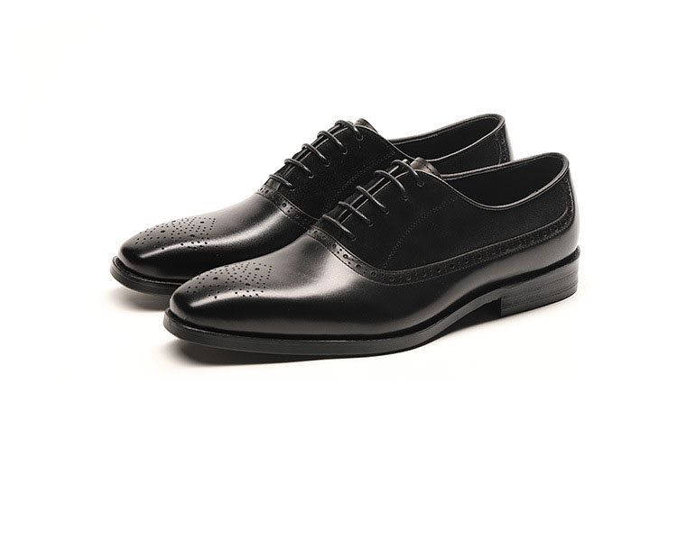 Genuine Cow Leather Square Toe Splice Men Party Shoes Designer Dress Shoes Black Brown Lace up Fashion Italian Shoes in Formal Shoes from Shoes