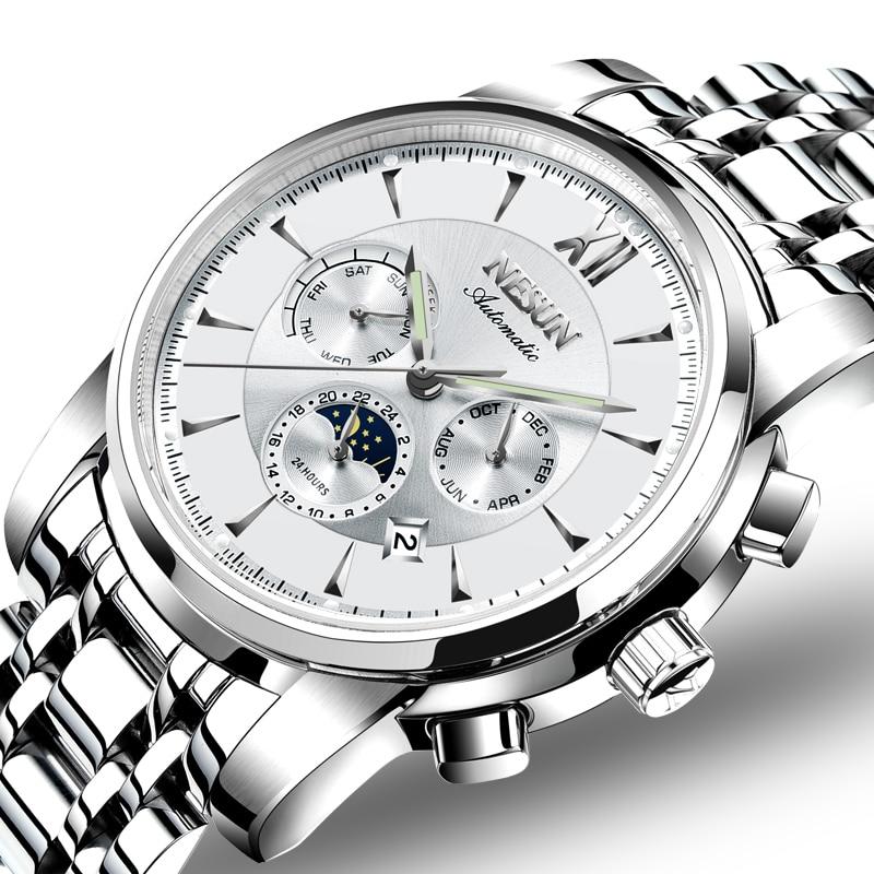 Switzerland Luxury Brand NESUN Watch Men Automatic Mechanical Watches relogio masculino Luminous Multifunctional clock N9805-3 все цены