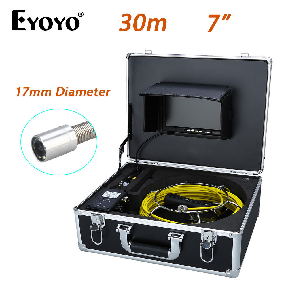 Eyoyo WP70B 30M 7 LCD 17mm Wall Drain Sewer Waterproof Camera System CCTV Cam 1000TVL Snake Inspection Color HD Sun shield eyoyo wp90b 20m 9lcd 17mm wall drain sewer pipe line inspection camera system cctv 1000tvl hd snake inspection color sun shield