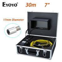 Eyoyo WP70B 30M 7 LCD 17mm Wall Drain Sewer Waterproof Camera System CCTV Cam 1000TVL Snake Inspection Color HD Sun shield