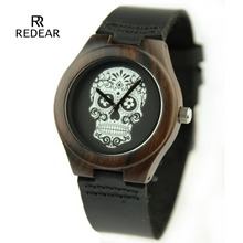 Fashion Nature Wood Wrist Watch Lovers Analog Sport Bamboo Black Genuine Leather Band Strap Clock For Men Women Gift