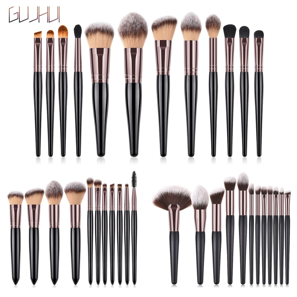 Pro Natural Kit Face Makeup Brushes Powder Set For Eye Shadow Foundation Blush 11/12pcs Eyebrow Eyelash Contour Makeup Brush Set silver professional foundation brush fish scale makeup brushes pro foundation powder blush contour brush fishtail cosmetic tool
