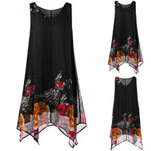 5XL Plus Size Print Chiffon Dress For Women Sleeveless Vintage Loose Mini Beach Clothes New Summer Vestidos Summer Dress *N(China)