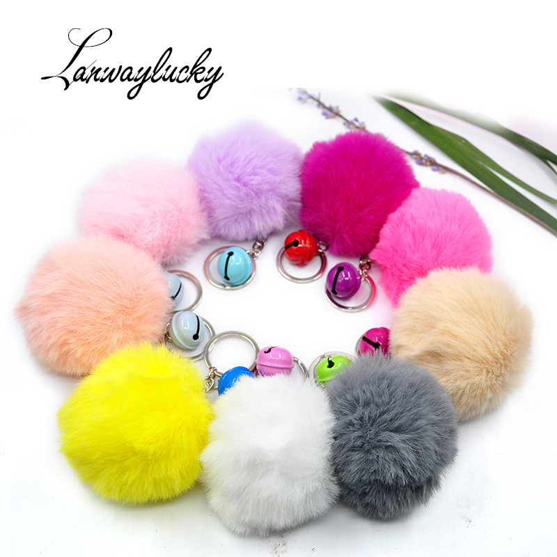 10pcs lot Imitation Rex Rabbit Ball Keychain Bag Pendant Christmas Pom Pom Keyring Plush Alloy Key Ring Chain With Bell in Key Chains from Jewelry Accessories