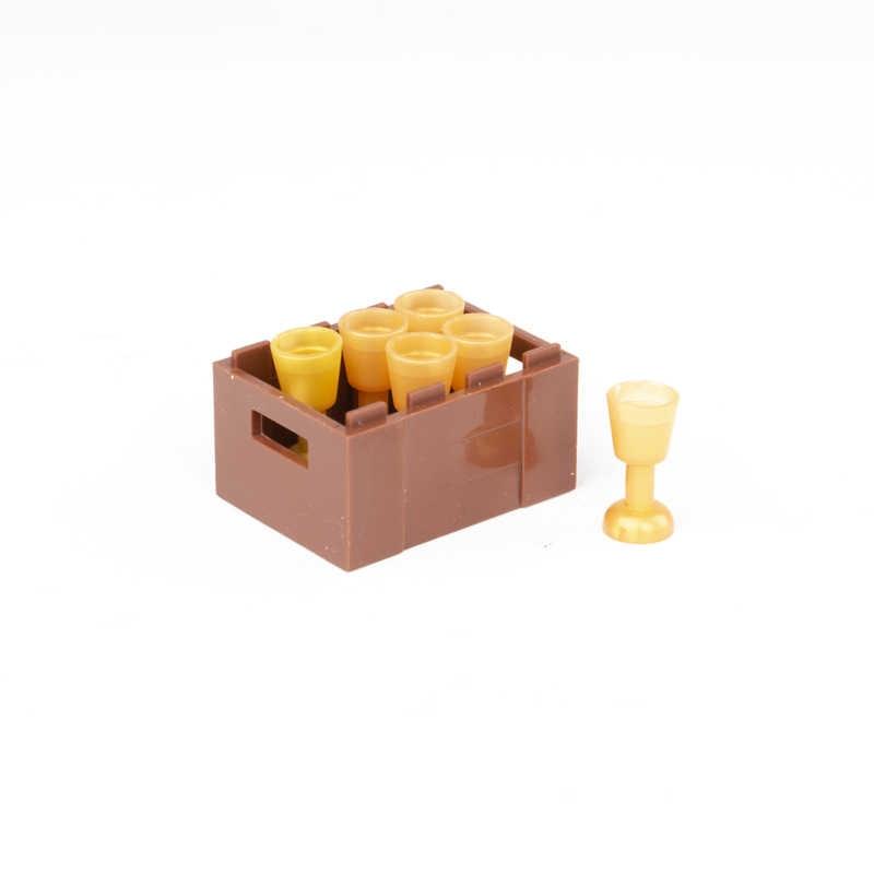Acessórios da cidade Blocos de Construção Caixa Marrom Garrafa Copo Dourado Utensílio Peças Tijolos Brinquedos Figuras Militares