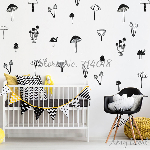 Woodland Mushroom Wall Decals Nordic Style Forest Wall Stickers For Kids  Rooms Home Decor Living Room
