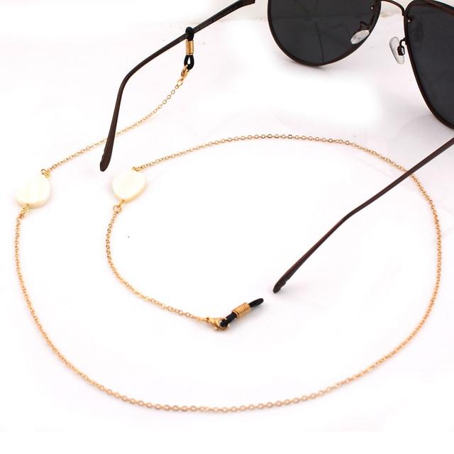 1d391334c4 Cuentas de concha únicas cadena de oro plata gafas cadenas de lectura gafas  de sol cuerda