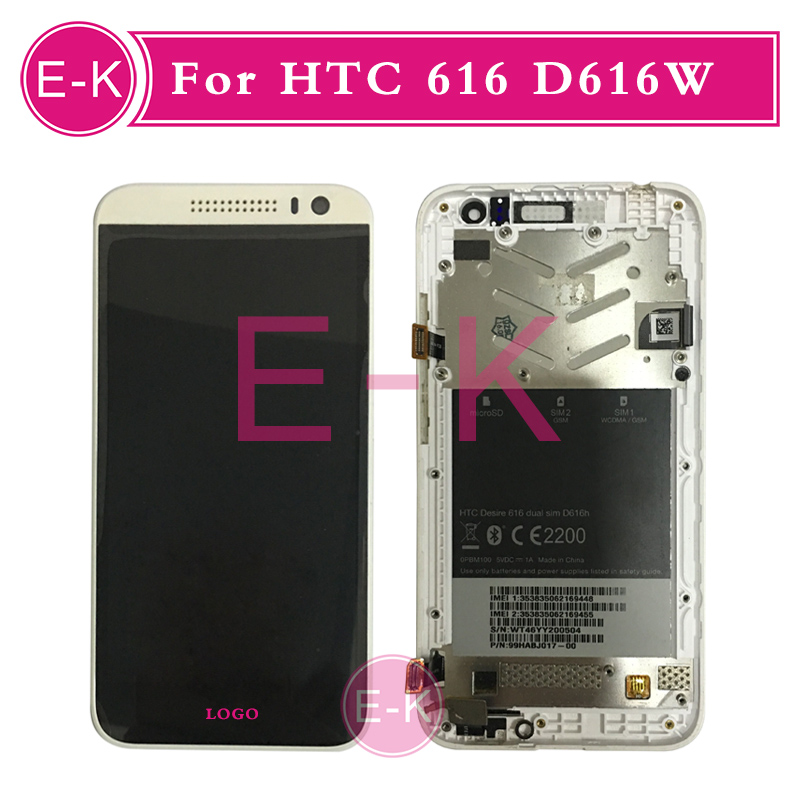 +Frame LCD Display + Touch Screen Digitizer Assembly Replacement For HTC Desire 616 D616W White/Black Free Shipping