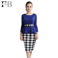 2016 Women Elegant Cotton Dress Tunic Peplum Belted Patchwork Long Sleeve Check Tartan Office Work Sheath