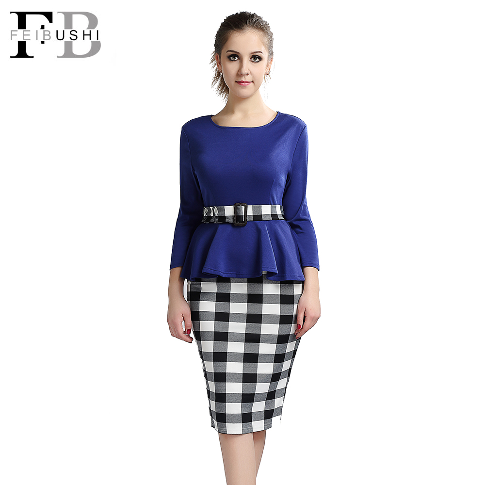 2016 Women Elegant Cotton Dress Tunic Peplum Belted Patchwork Long Sleeve Check font b Tartan b