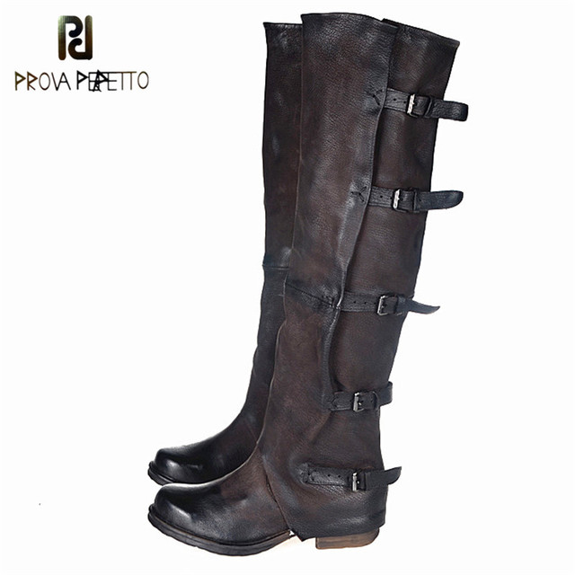 Prova Perfetto British Belt Buckle Knight Boots Side Zipper Easy To Wear Solid Color Contracted Temperament Retro Knee Boots
