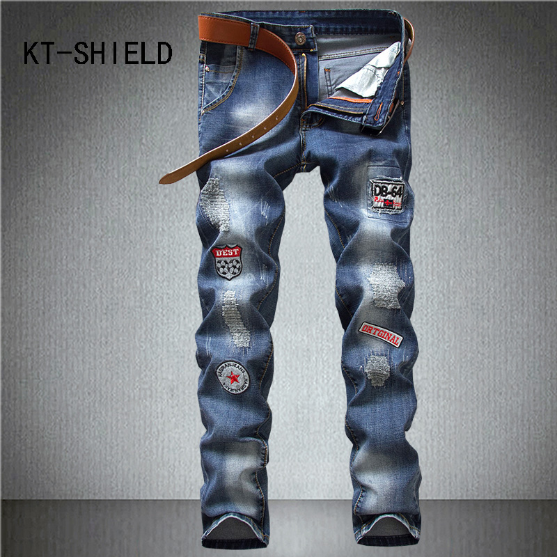 ripped skinny denim jean mens biker Hip hop Distressed casual jogger harem pants print cargo trousers calca jeans masculina