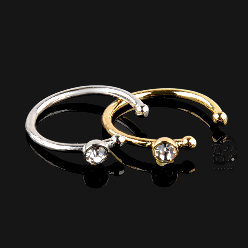 316L Surgical Steel IP Plated Septum Clicker Nose Ring Hoop Twisted Gold Silver