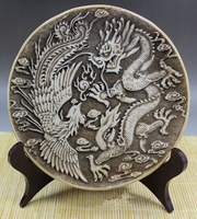 Collection Rare Chinese Handwork Carved Resins Dargon Phoenix Fengshui Luck Statue Plate Dish Crafts Home Decoration