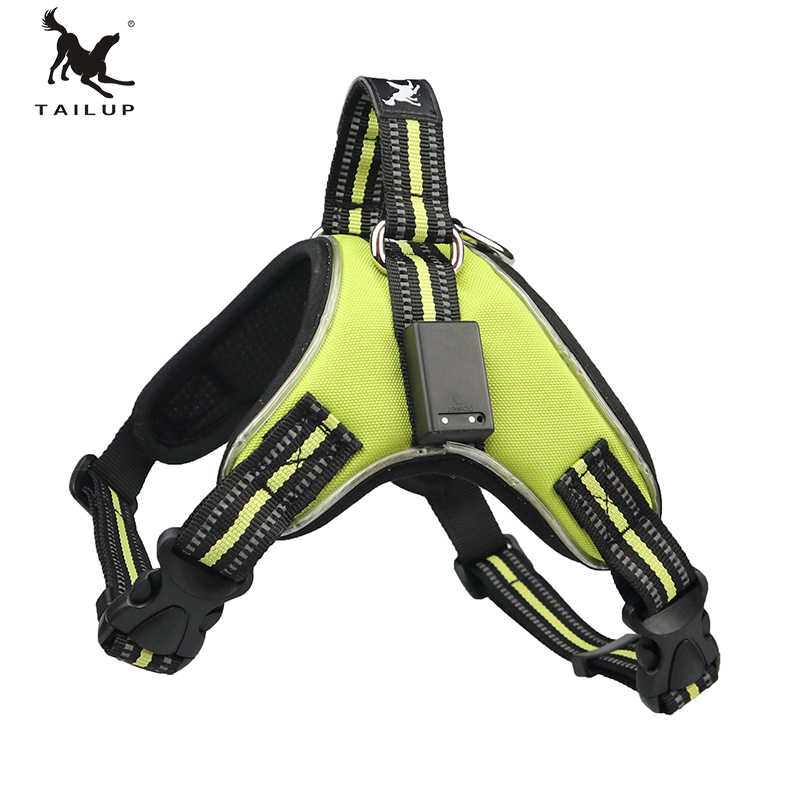 TAILUP S-XXL LED Lamp 1000D High Grade Oxford  Harness Reflective Ribbon Waterproof Quick Control No Pull Pet Chest Straps