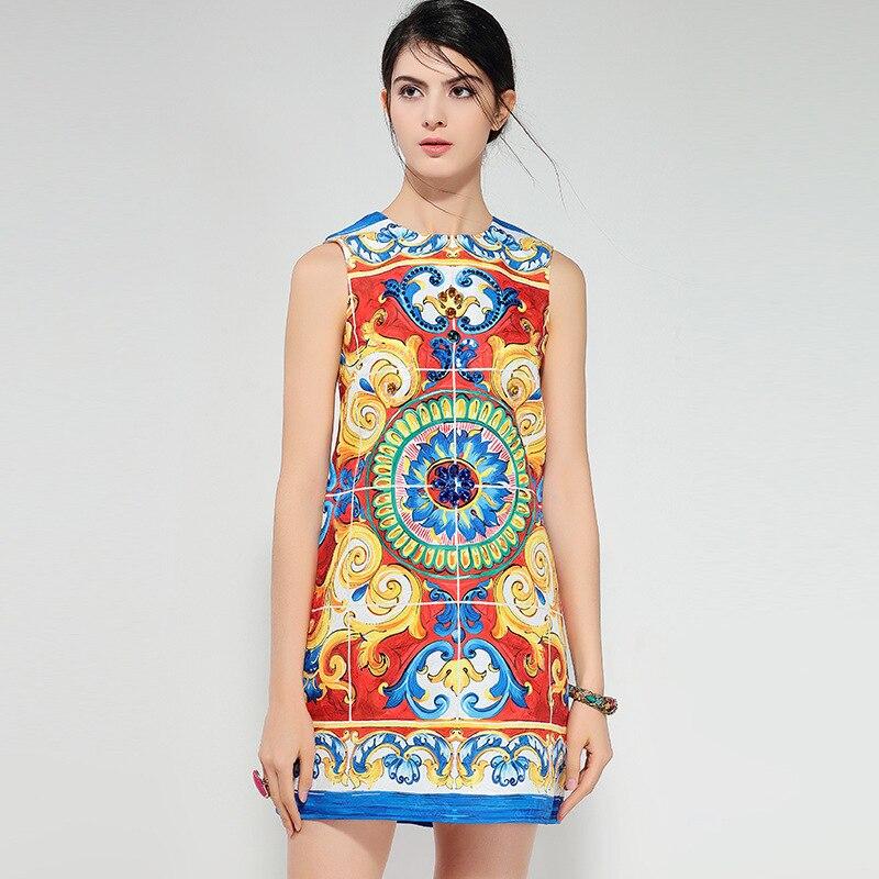 Высокое качество 2018 Новый Винтаж принтом ромбы Для женщин прямые европейские длиной выше колена Мини o_neck Женские Ретро милое платье