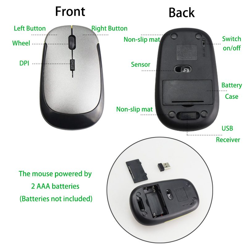 2.4 GHz Mini Wireless Mouse Optical Super Slim Gaming Mice With USB Receiver