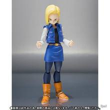 Shf dragon ball z android no.18 com logotipo e caixa de transporte bjd dragonball ação figura brinquedos 14cm(China)