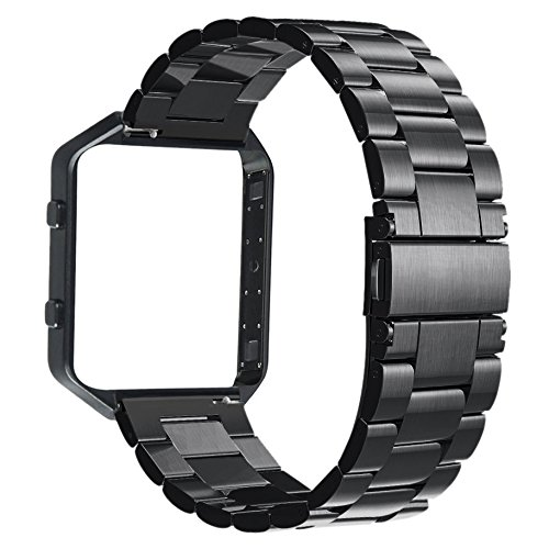 V-MORO Stailess Steel Watch Band With Metal Frame House 2 in 1 Replacement Strap for Fitbit Blaze Smart Fitness v moro solid stainless steel metal replacement band with adapters for samsung gear s2 smart watch metal silver