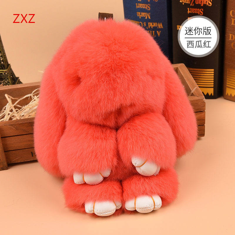 ZXZ New 14cm Rabbit Model Fur Plush Doll Toys Keychain Pendant Car Tag Cute Rabbit Toy Real Fur Monster Kid Gift rabbit plush keychain cute simulation rabbit animal fur doll plush toy kids birthday gift doll keychain bag decorations stuffed