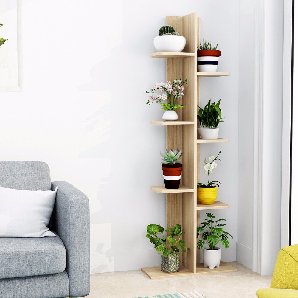 Giantex Open Concept Bookcase Plant Display Shelf Rack Storage Holder Wooden Walnut Living Room Furniture Hw57374na