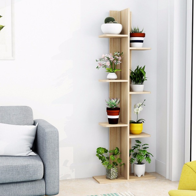 Giantex Open Concept Bookcase Plant Display Shelf Rack Storage Holder  Wooden Walnut Living Room Furniture HW57374NA