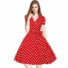 цены Plus Size 2XL Women Retro Dresses Vintage Rockabilly Swing feminino vestidos V neck short sleeves Knee-Length Dot print Dress