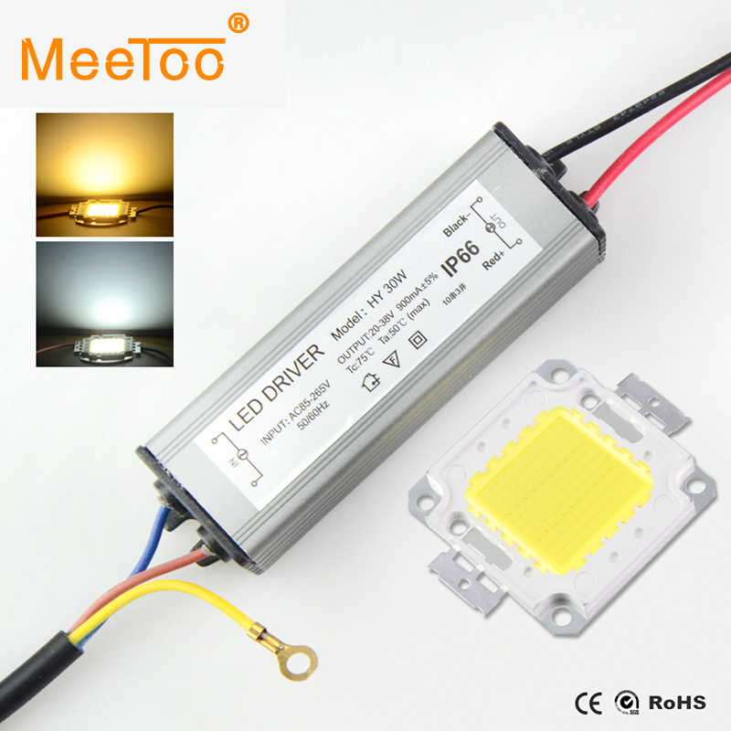 High Power LED COB Real 10W 20W 30W 50W COB LED  + LED Power Supply Led Floodlight Matrix DIY Driver For Landscape Lighting Set