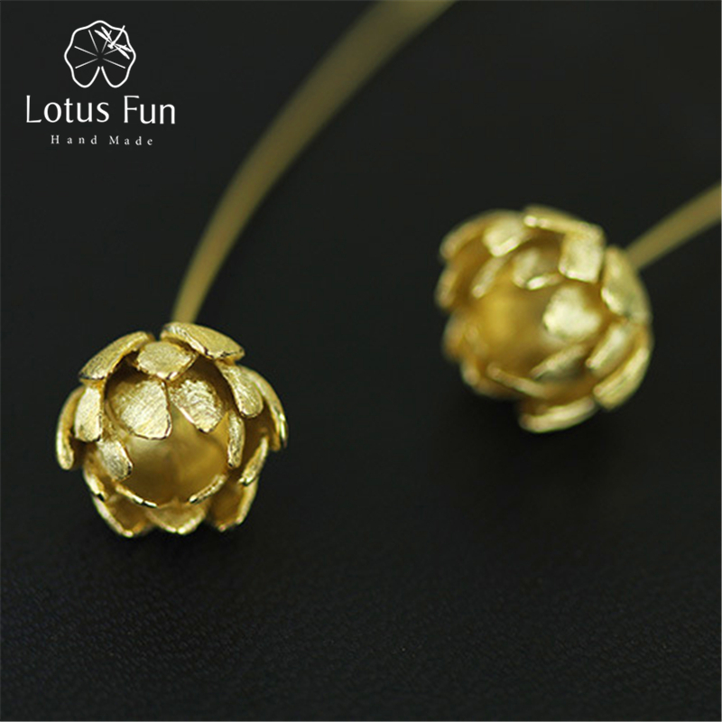 Lotus Fun Real 925 Sterling Silver Natural Creative Handmade Fine Jewelry Vintage Lotus Flower Dangle Earrings for Women Brincos lotus fun real 925 sterling silver handmade fine jewelry natural crystal lily of the valley flower brooches for women brincos