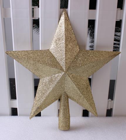 Festive glitter shiny star shaped tooper Christmas Tree Ornament XMAS desorration top 25CM Party event Supplies holiday gift