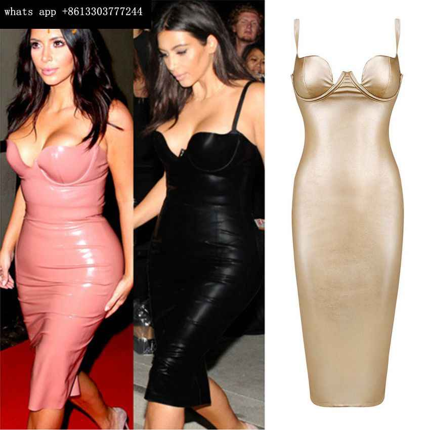 26e8e3c72b8 ... 2016 new women hot selling kim kardashian sexy black leather evening  party dress khaki pink gold ...