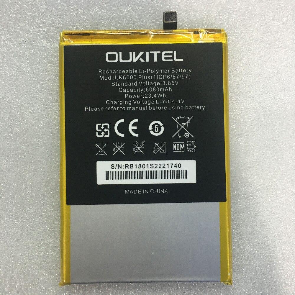 Mobile téléphone batterie OUKITEL K6000 plus la batterie 6080 mAh batterie D'origine Haute capacit OUKITEL téléphone batterie