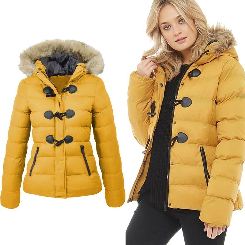 online store ac936 6493f ZOGAA Frauen Parka 2019 Winter Frühling Mantel Frauen Casual Pelz Kragen  Horn Schnalle Dünne Übergroßen Weiblichen Jacke Mantel Warme Parkas