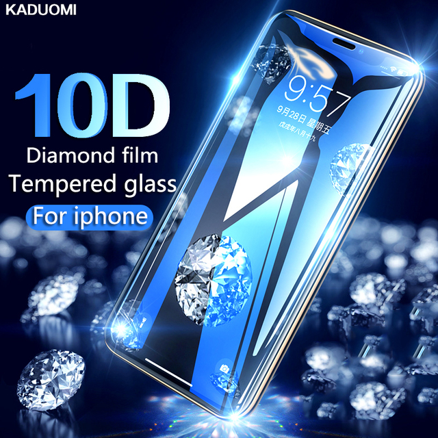 10D protective glass for iPhone 6 7 6S 8 plus X XS MAX XR glass iphone 7 6 8 X XS MAX XR screen protector glass on iPhone 7 8 6S