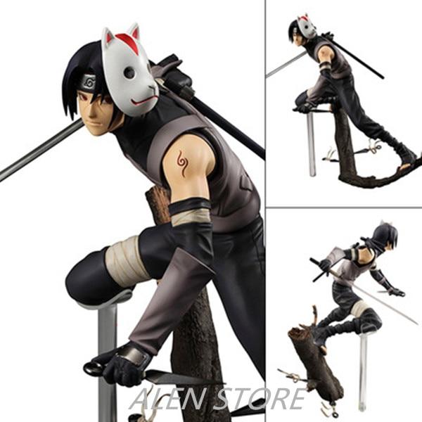 ALEN 22cm Anime Naruto Hatake Kakashi Itachi PVC Action Figure Collectible Toy naruto hatake kakashi pvc action figure collectible toy 24cm kunai