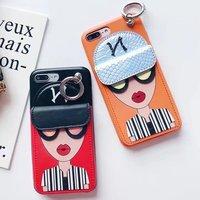 Para el iPhone x Cool Girl monedero hebilla del dedo con tarjetas para iPhone 6 6 s 6 más 6 splus 7 7 Plus caso mujeres capa coque