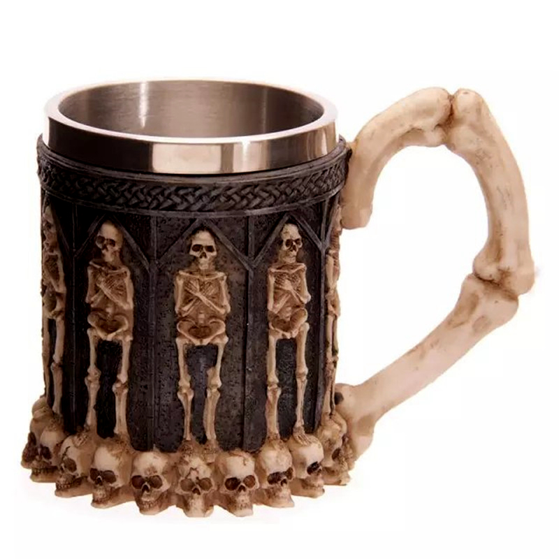 Horror Crypt Tankard 3D Skull Drinking Mug Resin Stainless Steel Liner Geek Skull Cup Home Office Coffee Cup Crazy Gift With Box 1