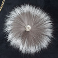 Free shipping Pretty fashion real silver fox fur ball pom poms 15cm phone purse pendant key chain hat cap handbag accessories