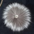 Free shipping Pretty fashion real silver fox fur ball pom poms 15cm phone purse pendant key chain hat cap handbag accessories