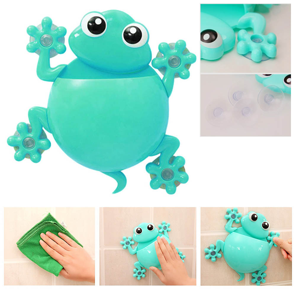 Creative Home Bathroom Lovely Cartoon Gecko Toothbrush Wall Suction Mount Holder
