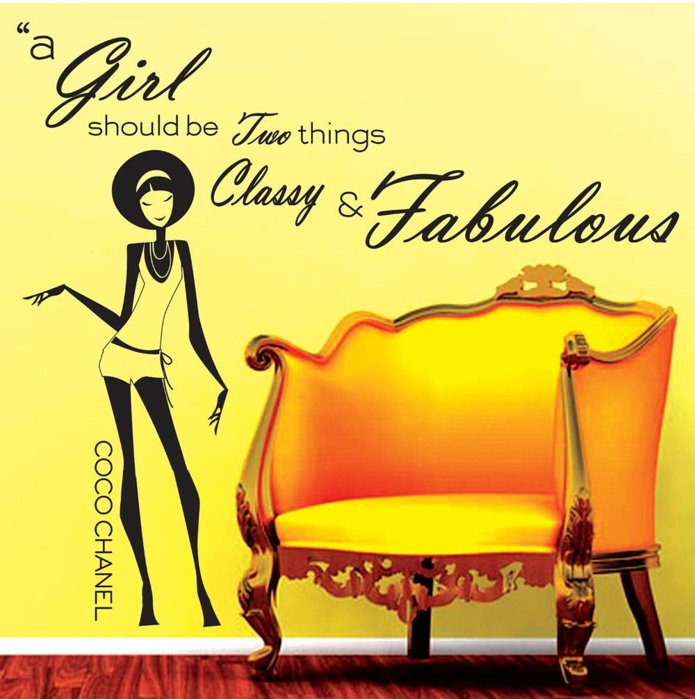 fashion wanita vinyl dekorasi dinding mural quote stiker gadis