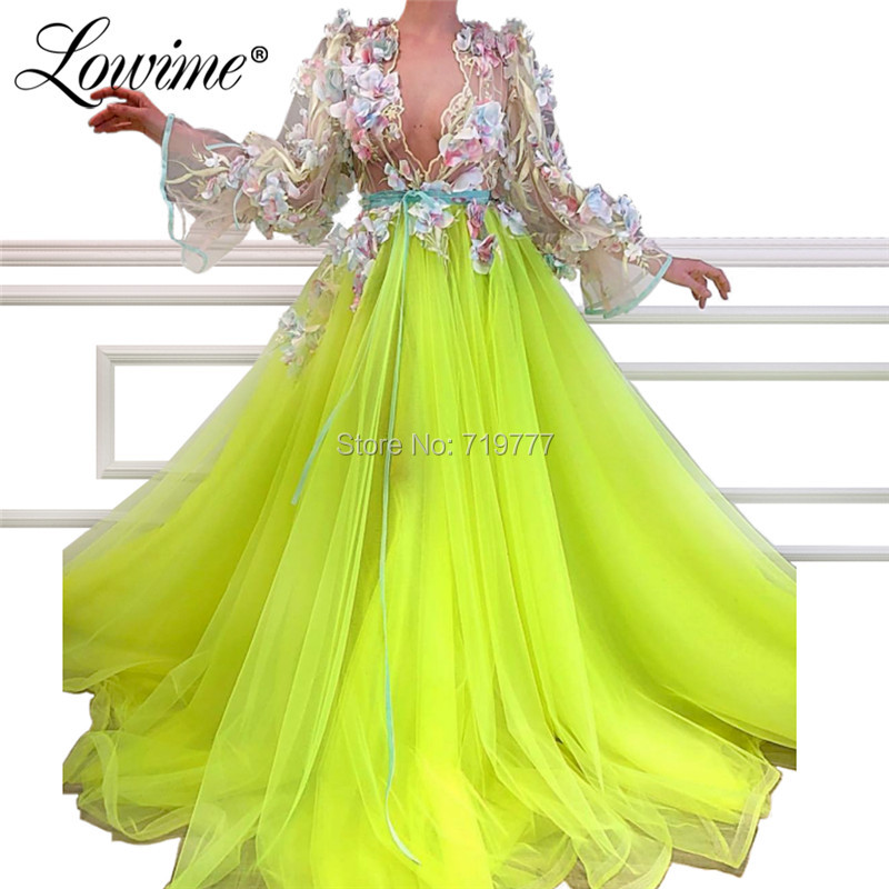 Sexy Deep V Neck Evening Dresses Abendkleider 2019 Arabic Long Sleeve Tulle Prom Dress Celebrity Party Gowns Abiye Gece Elbisesi