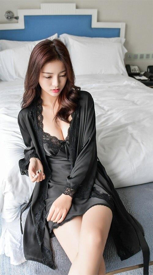 Сплошной цвет для женщин кружево шифоновый халат и набор ночных рубашек двойка халат sp0086 - Цвет: Black