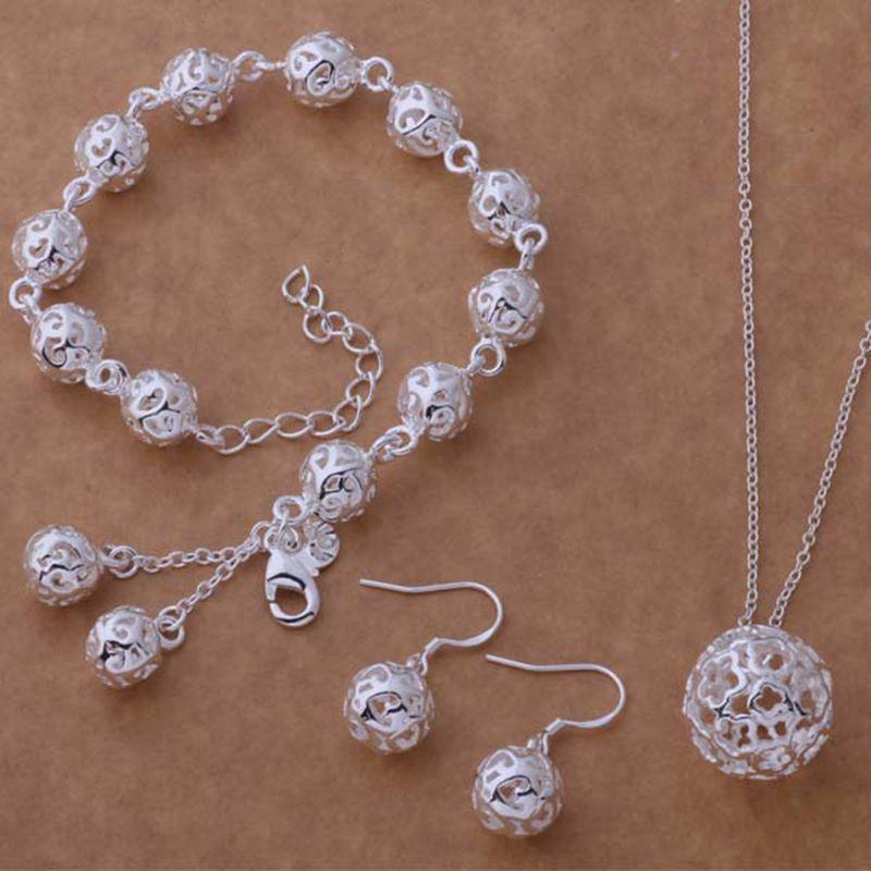 62963f34a223f الفضة والمجوهرات مجموعة ثلاثة قطعة مجموعة تشمل سوار أقراط و قلادة القرط  قلادة سوار مواتية abkurves