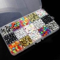 15 Màu Sắc/1100 cái Letter Hạt cho Tùy Chỉnh Tên trên Pacifier Clips Hỗn Hợp Shape DIY Acrylic Alphabet Beads @ M23