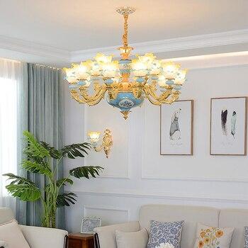 Living Room Glass Chandeliers Atmosphere Blue Ceramic Chandeliers Household Bedroom Light Restaurant Cafe KTV Shop Hanging Lamps