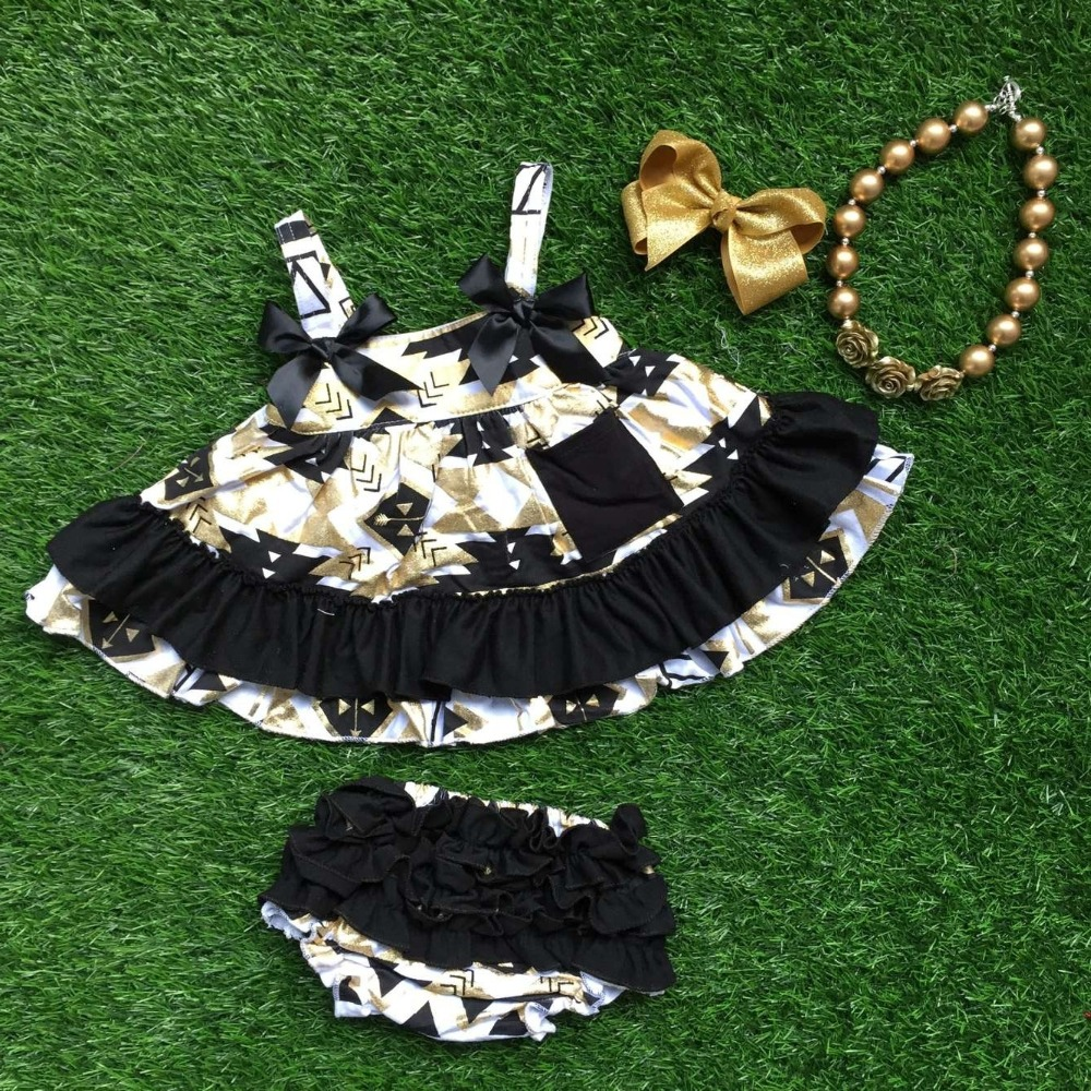 little girls boutique clothing sets infant girl clothes baby aztec black and gold swing  ...