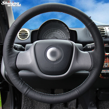 Shining wheat Hand-stitched Black Genuine Leather Car Steering Wheel Cover for Smart Fortwo