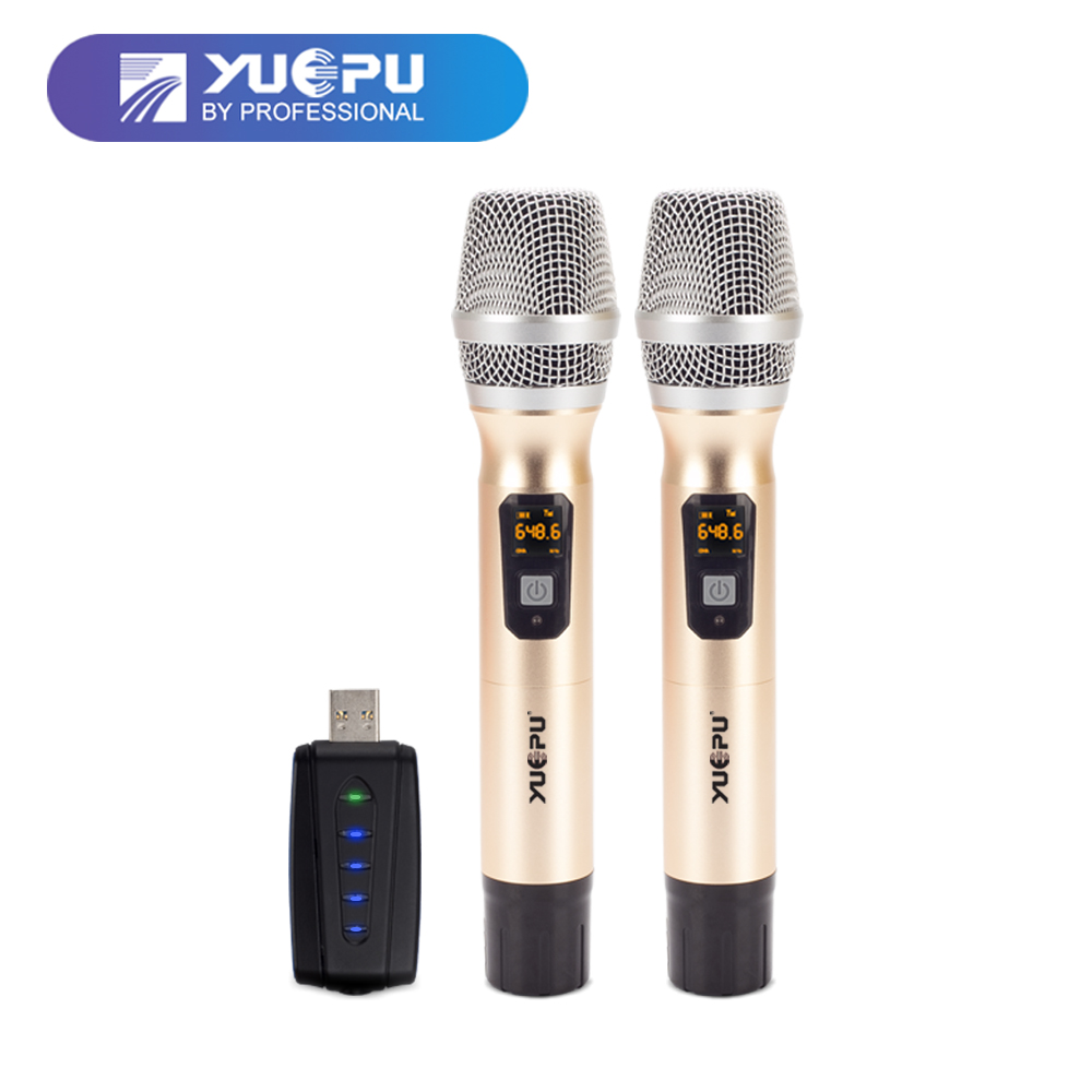 YUEPU RU-D200 UHF Handheld Karaoke Microphone Wireless System 2 Channel Frequency Shift Digital Audio Effect USB Mini Receiver tigofly 12 colors fly tying double head permanent waterproof marker pen set saltwater fly fishing drawing fly tying materials