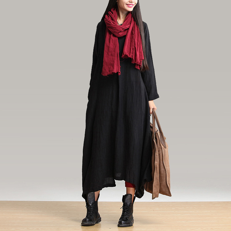 05c21cba02 2017 Spring New Arrival Plus Size Women Vintage Black Long sleeved V neck  Cotton And Linen Maxi Dress Casual Dress Vestidos-in Dresses from Women s  Clothing ...